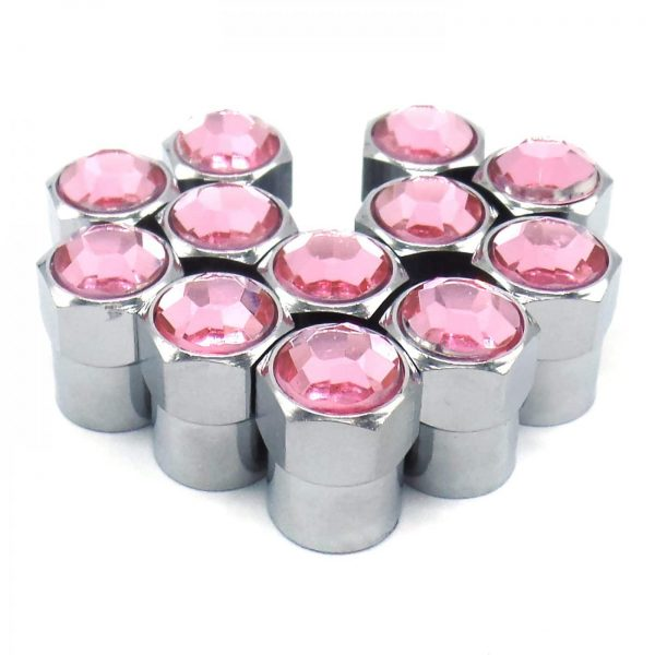 pink rhinestone bling tire valve caps