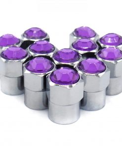 purple rhinestone bling tire valve caps