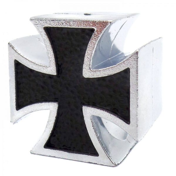 black and silver iron cross tire valve caps