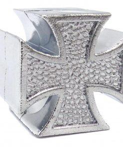 silver iron cross tire valve caps